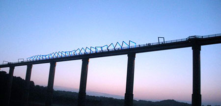 High Trestle Trail Bridge at night